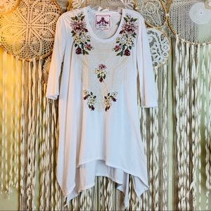 Johnny Was Trapeze Hemline Embroidered Tunic
